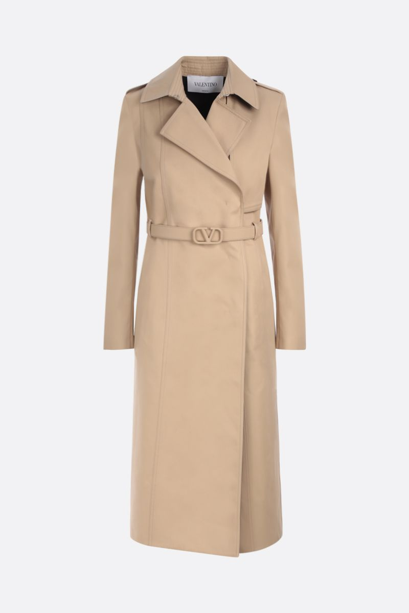 VALENTINO: double-breasted gabardine trench coat with VLogo belt Color Neutral_1