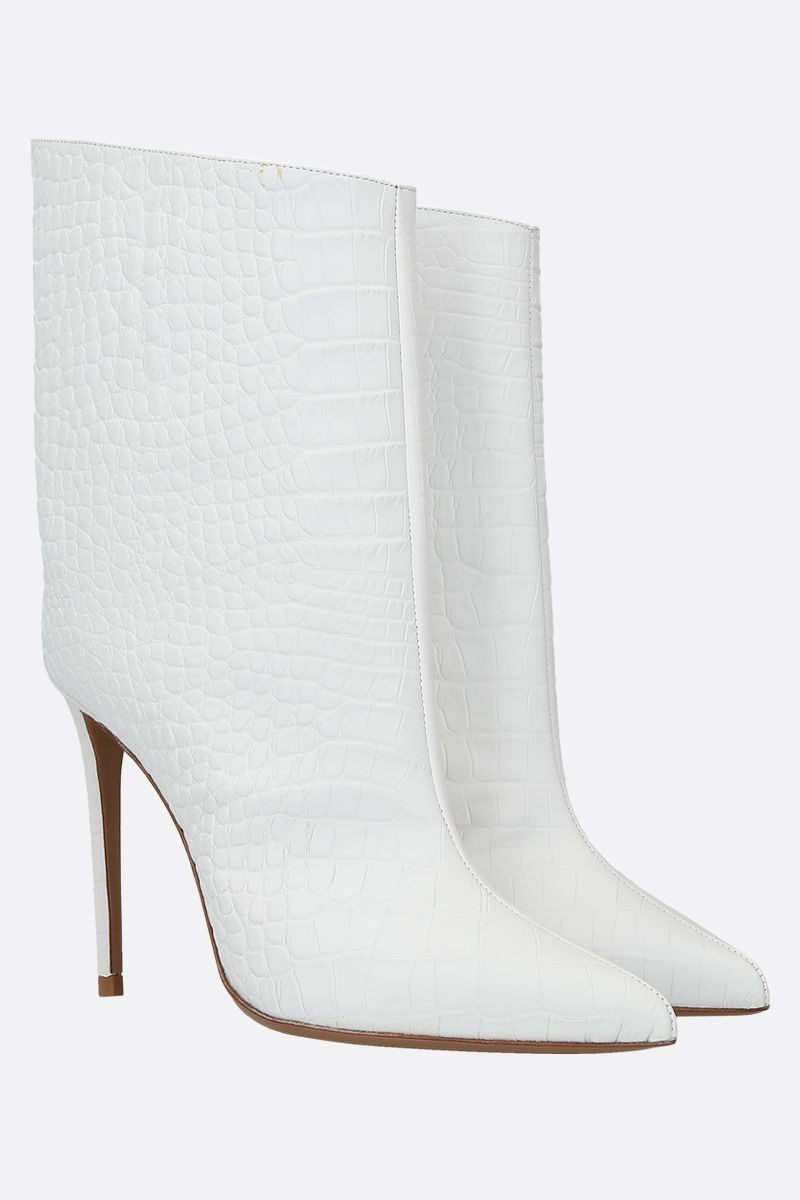 ALEXANDRE VAUTHIER: Alex crocodile embossed leather booties Color White_2