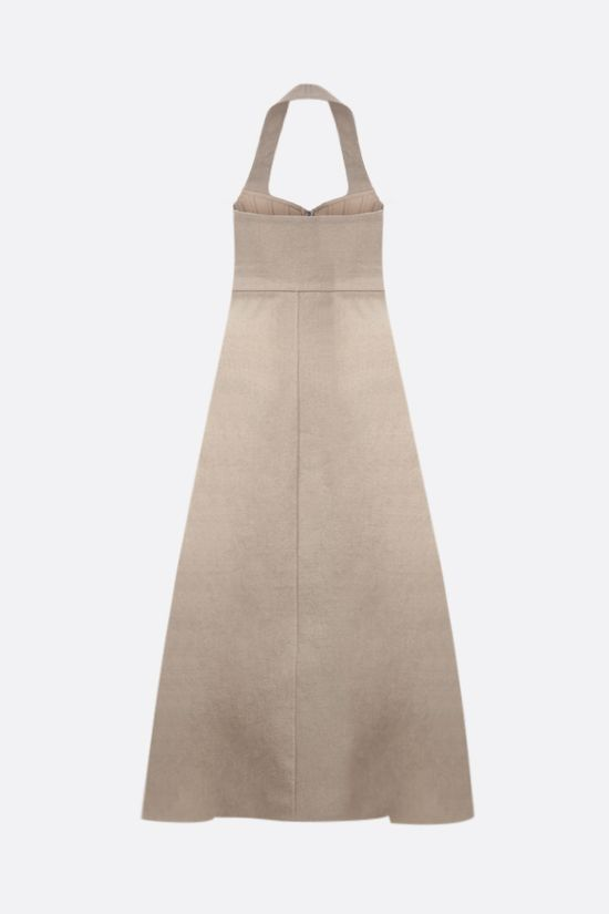 BOTTEGA VENETA: stretch linen sleeveless dress Color Neutral_2