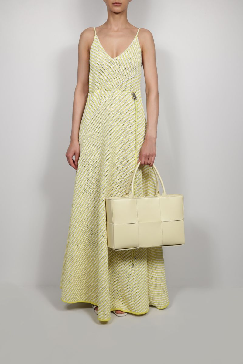 BOTTEGA VENETA: compact cotton mesh long dress Color Yellow_2