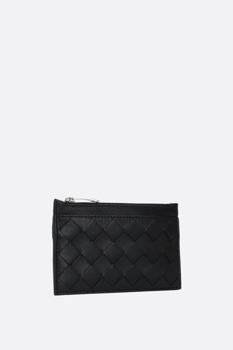 BOTTEGA VENETA: Maxi Intrecciato zipped key holder Color Black_2