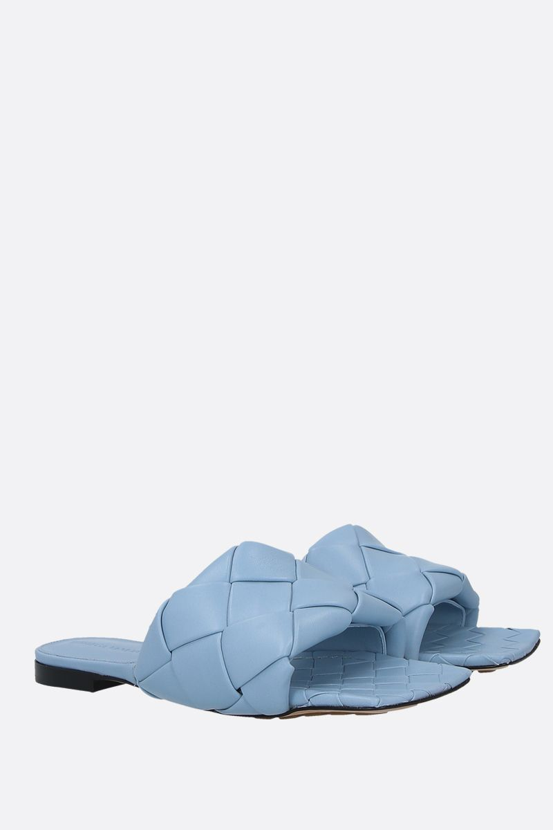 BOTTEGA VENETA: BV Lido Intrecciato nappa flat sandals Color Blue_2