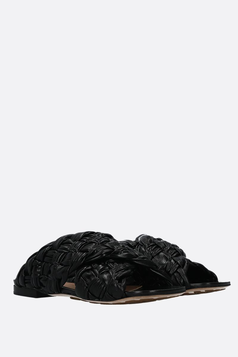 BOTTEGA VENETA: BV Board flat sandals in shiny Intrecciato nappa Color Black_2