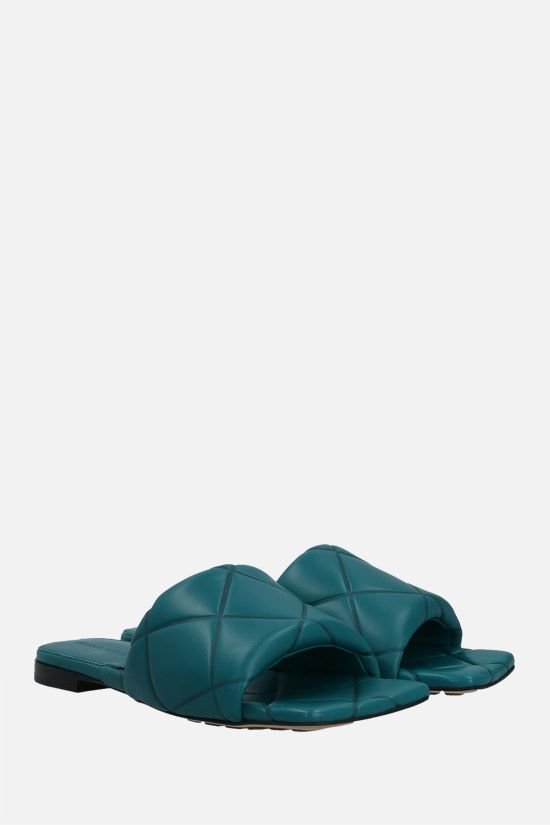 BOTTEGA VENETA: The Rubber Lido quilted nappa flat sandals Color Green_2