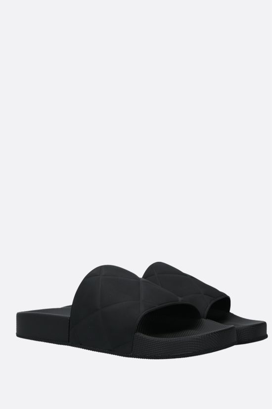 BOTTEGA VENETA: matte rubber slide sandals Color Black_2