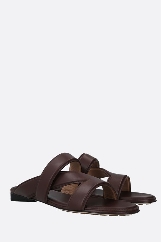 BOTTEGA VENETA: The Band smooth leather flat sandals Color Brown_2