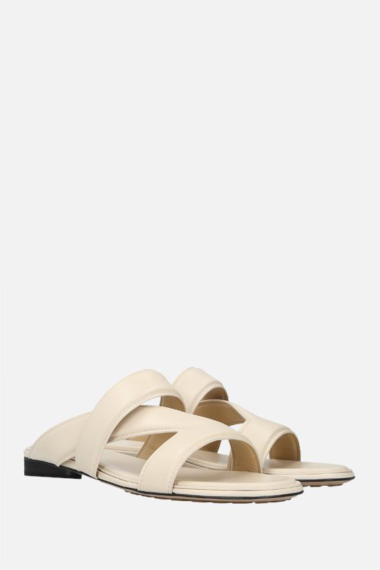 BOTTEGA VENETA: The Band smooth leather flat sandals Color Neutral_2