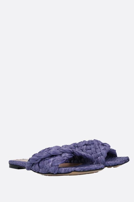 BOTTEGA VENETA: sandalo slide BV Lido in rafia Colore Viola_2