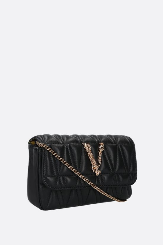 VERSACE: Virtus mini quilted nappa crossbody bag Color Black_2