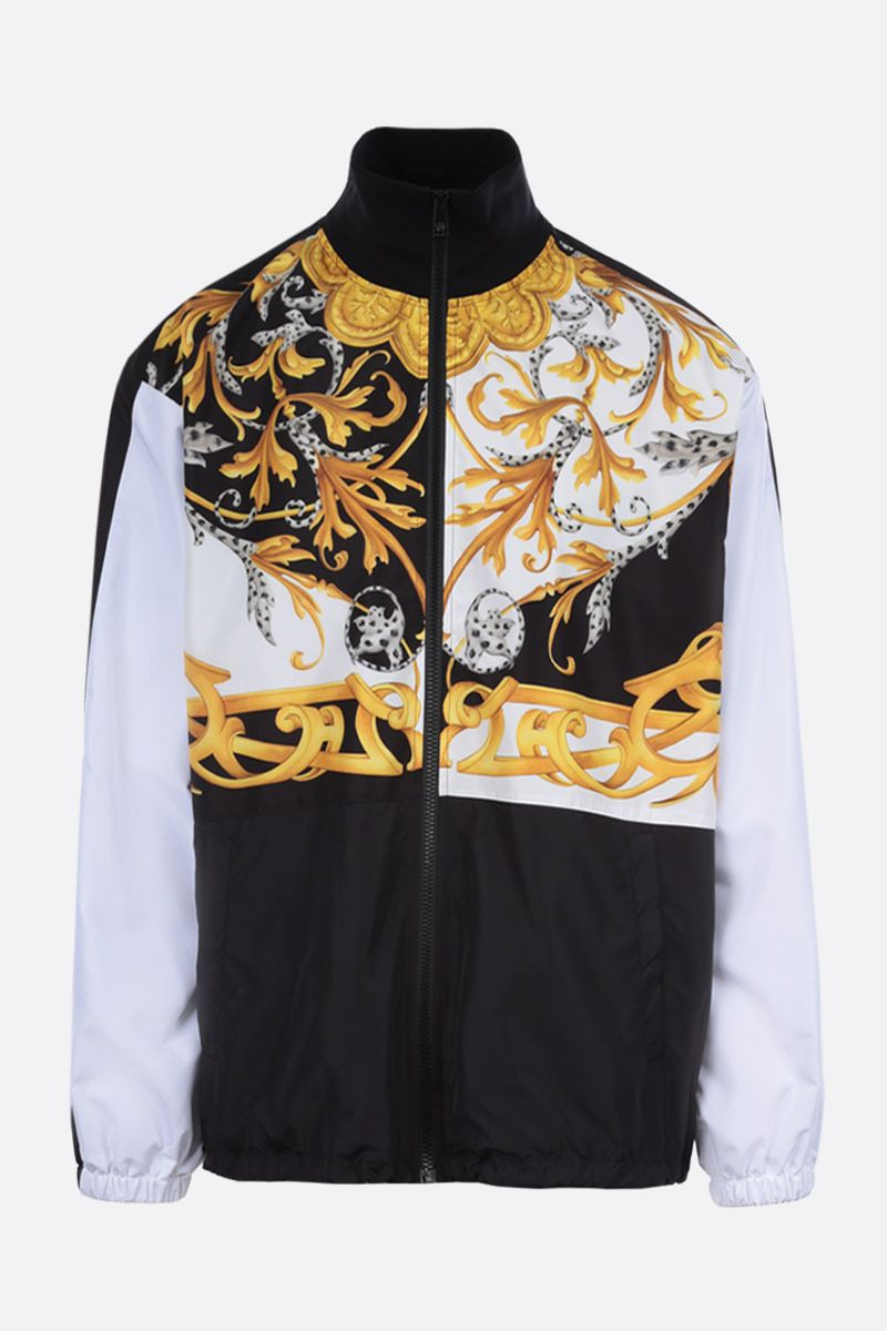 VERSACE: Barocco Acanthus print nylon full-zip jacket Color White_1