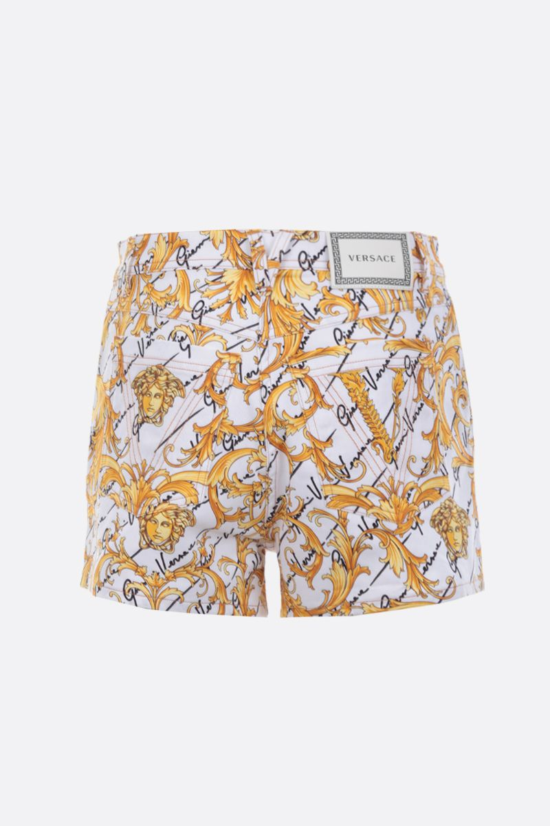 VERSACE: Barocco Signature print stretch denim shorts_2