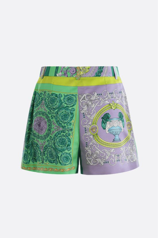 VERSACE: Barocco Mosaic print silk shorts Color Purple_2
