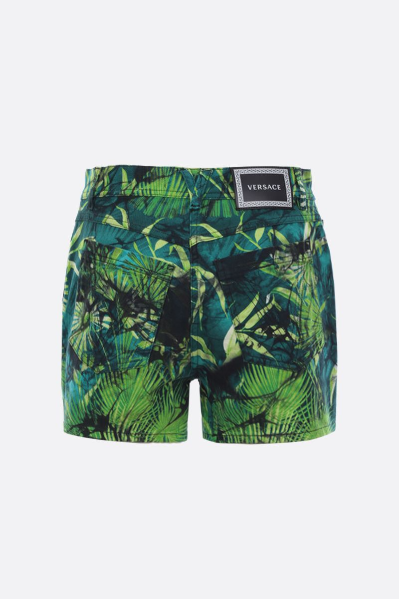 VERSACE: Jungle print stretch denim shorts Color Green_2