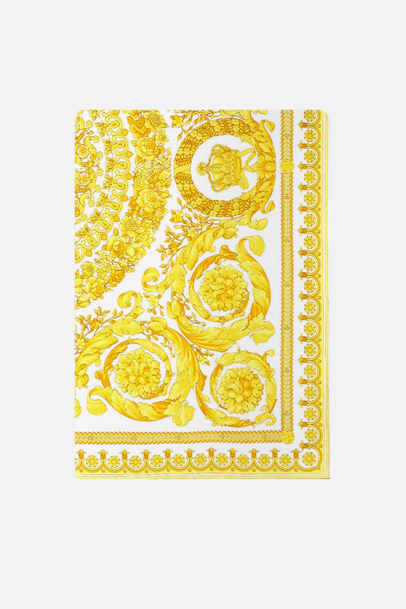 VERSACE: Baroque print silk twill foulard Color White_1