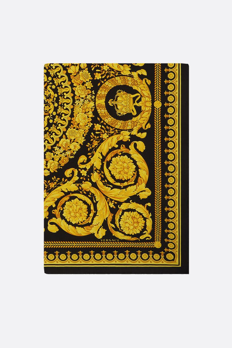 VERSACE: Baroque print silk twill foulard Color Black_1