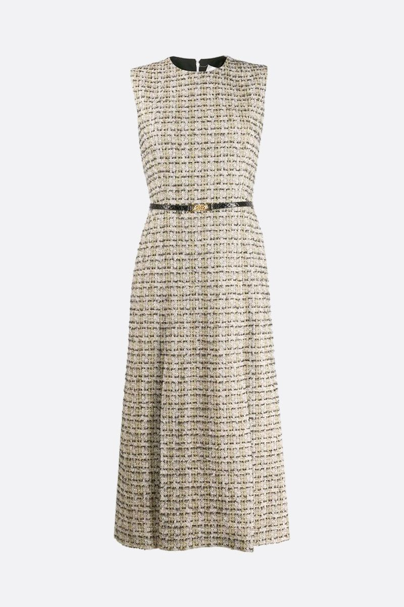 VICTORIA BECKHAM: belt-detailed tweed sleeveless dress Color Green_1