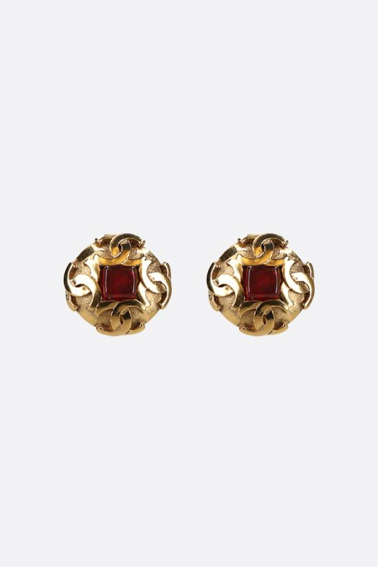 CHANEL VINTAGE: stone-detailed metal earrings Color Gold_1