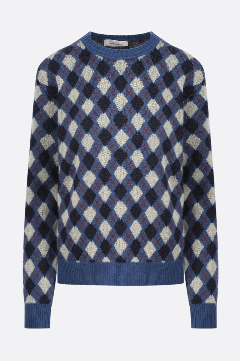 WALES BONNER: pullover Williams in misto lana a rombi Colore Blue_1