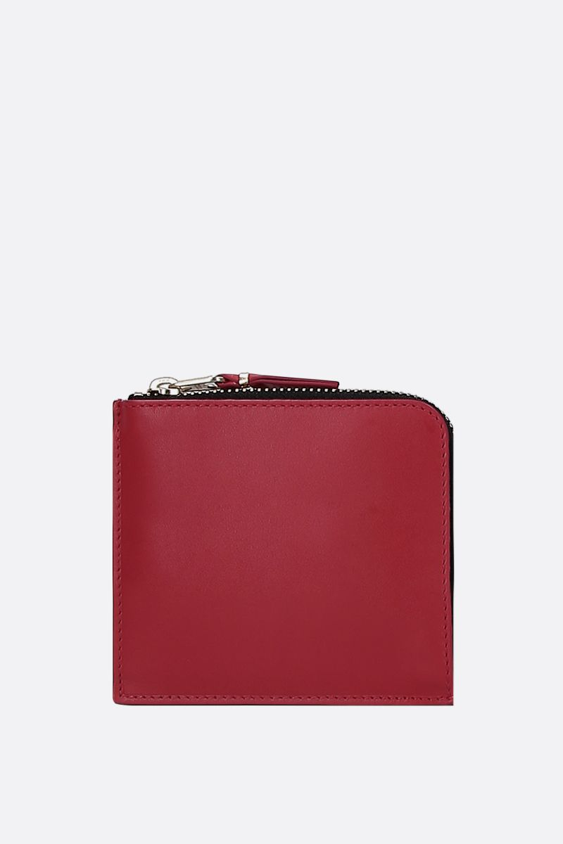 COMME des GARCONS WALLET: logo print smooth leather half-zip wallet Color Red_1