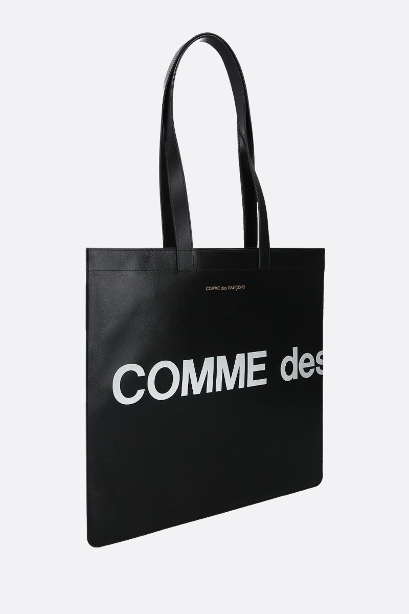 COMME des GARCONS WALLET: Huge Logo smooth leather flat tote Color Black_2