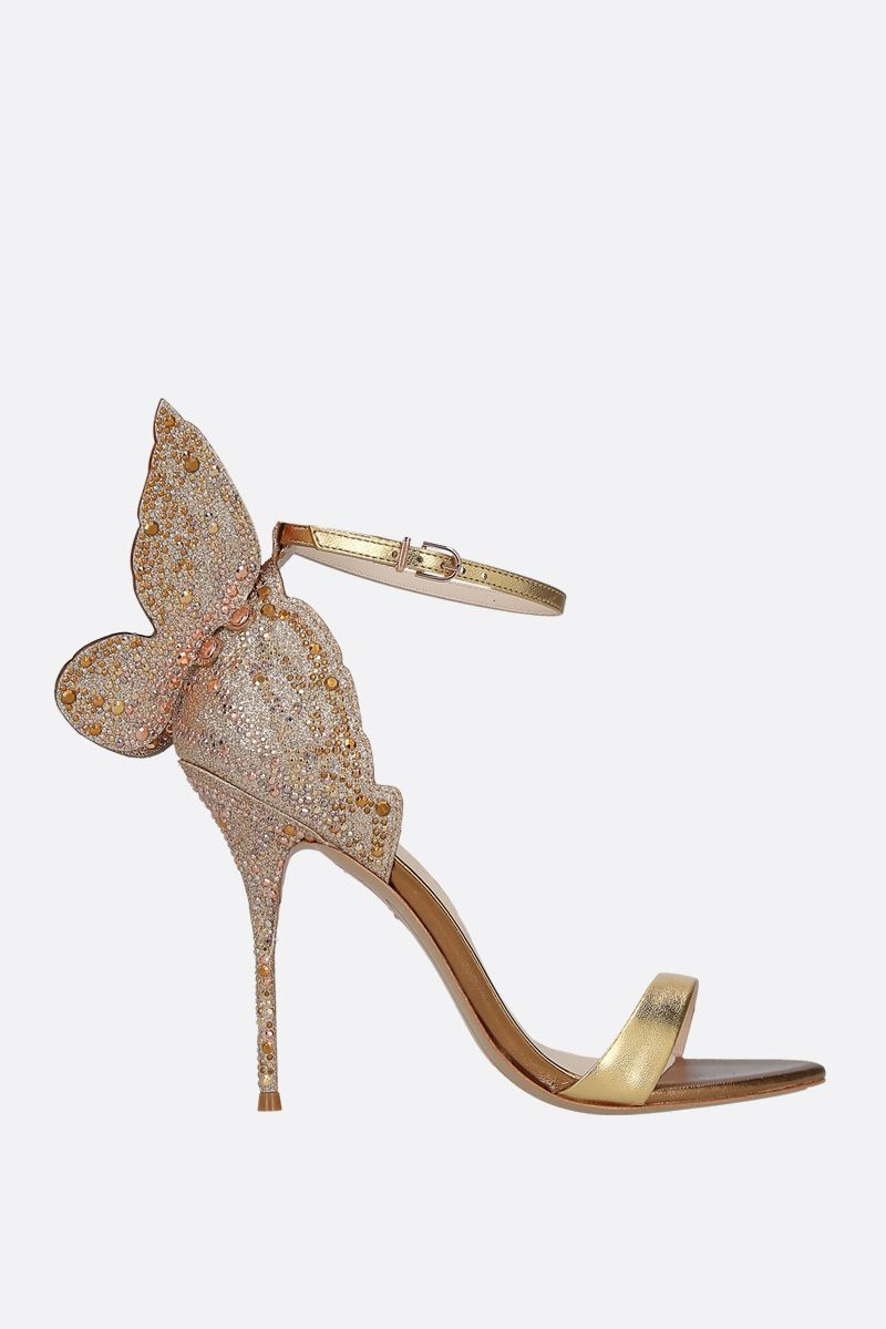 SOPHIA WEBSTER: Chiara laminated leather and glitter sandals Color Gold_1