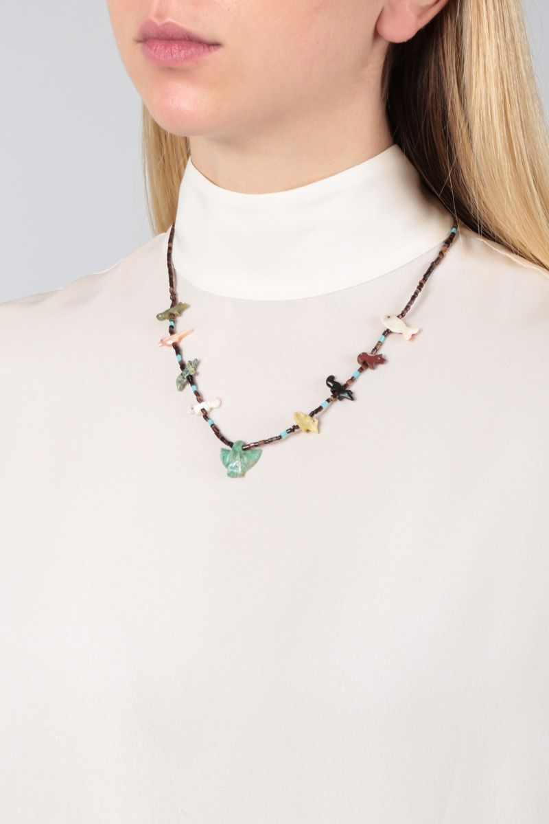 JESSIE WESTERN: Eagle short necklace in sterling silver with gemstones Color Multicolor_2
