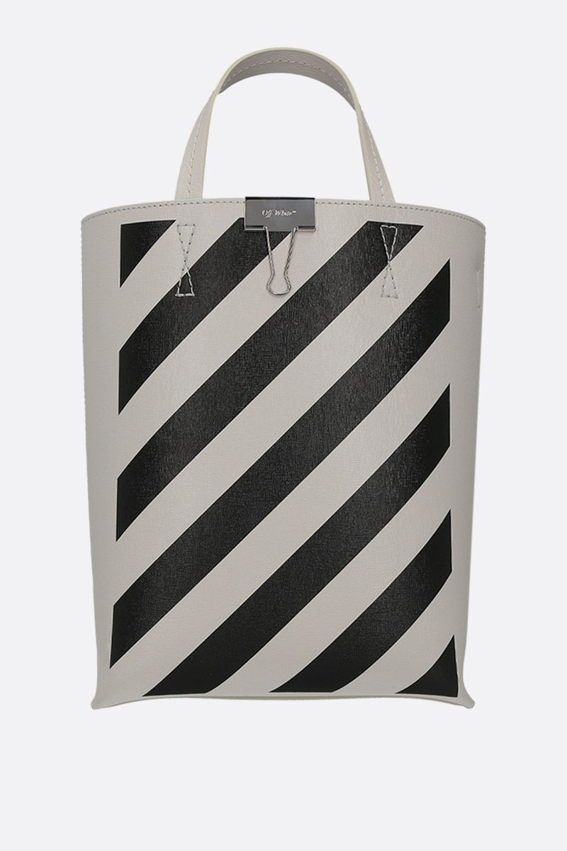 OFF WHITE: Diag textured leather tote bag Color White_1