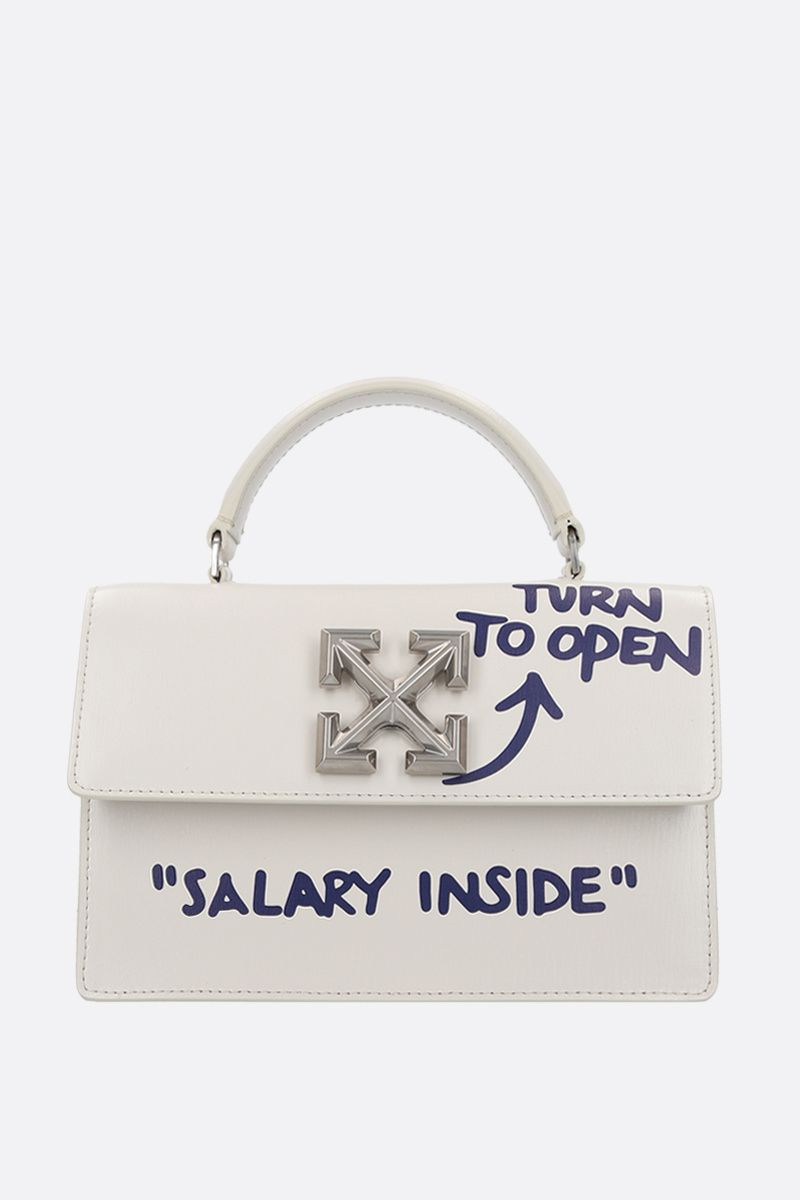 OFF WHITE: Jitney 1.4 smooth leather shoulder bag Color White_1