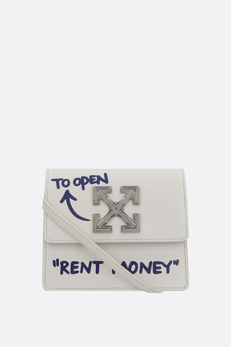 OFF WHITE: Quote Jitney 0.7 shiny leather crossbody bag Color White_1