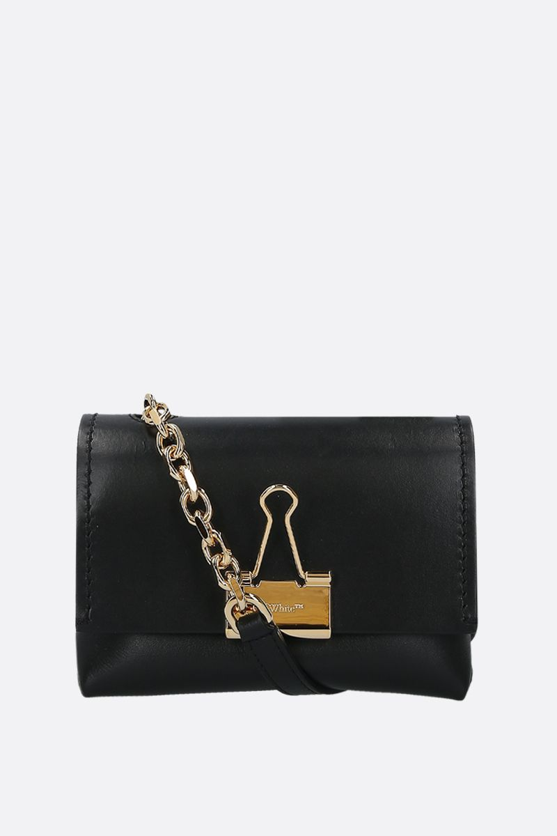 OFF WHITE: small Binder Clip smooth leather crossbody bag Color Black_1