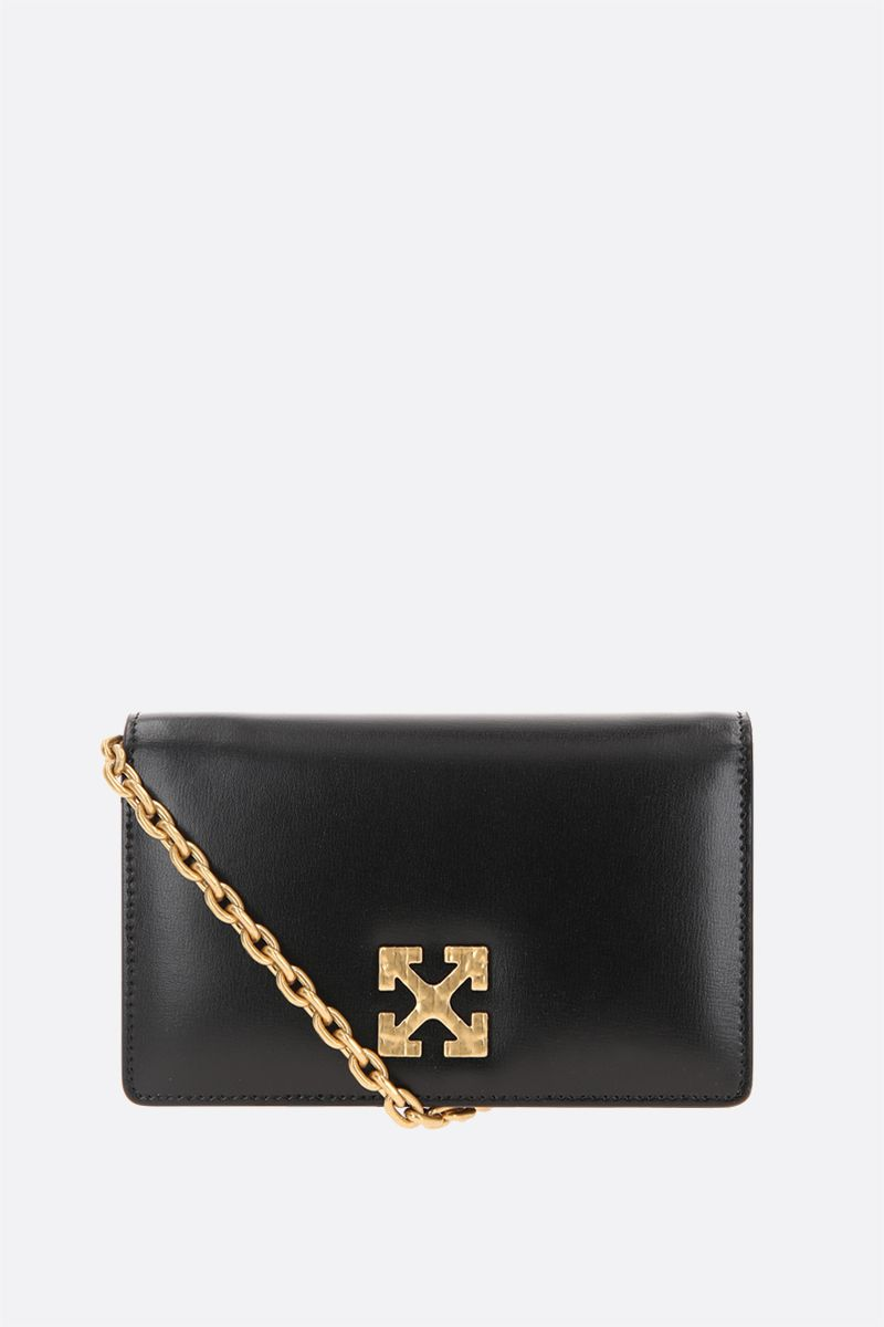 OFF WHITE: Jitney 0.5 smooth leather crossbody bag Color Black_1