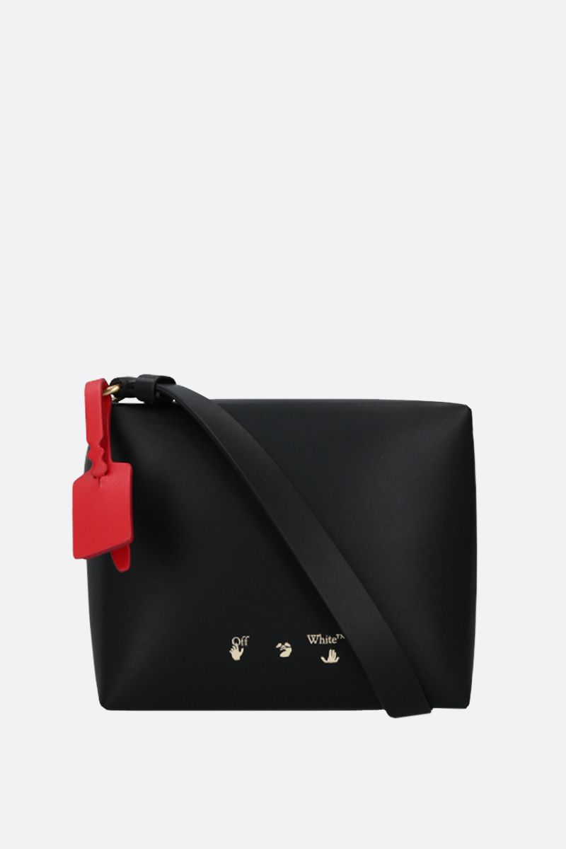 OFF WHITE: Nailed Camera smooth leather crossbody bag Color Black_1