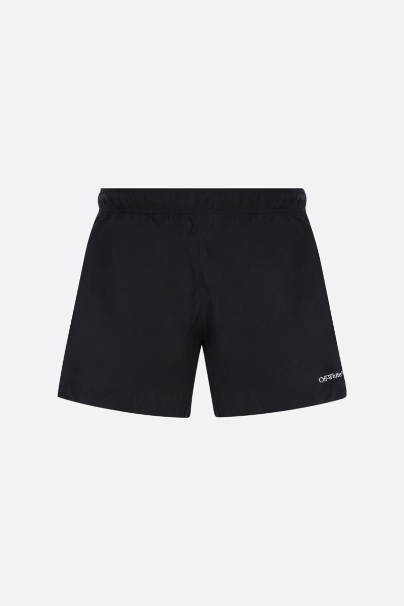 OFF WHITE: OW Logo nylon swimshorts Color Black_1