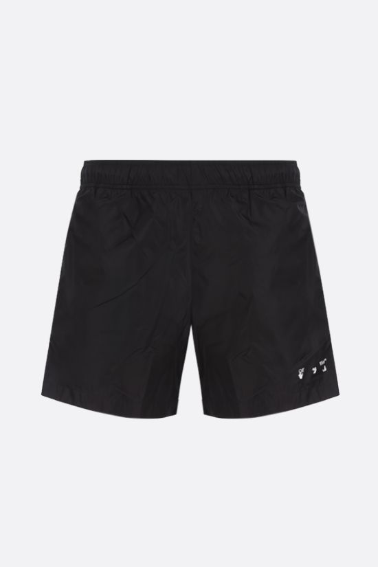 OFF WHITE: logo print nylon swim shorts Color Black_1