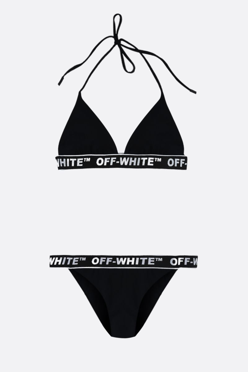 OFF WHITE: logo-detailed lycra bikini Color Black_1