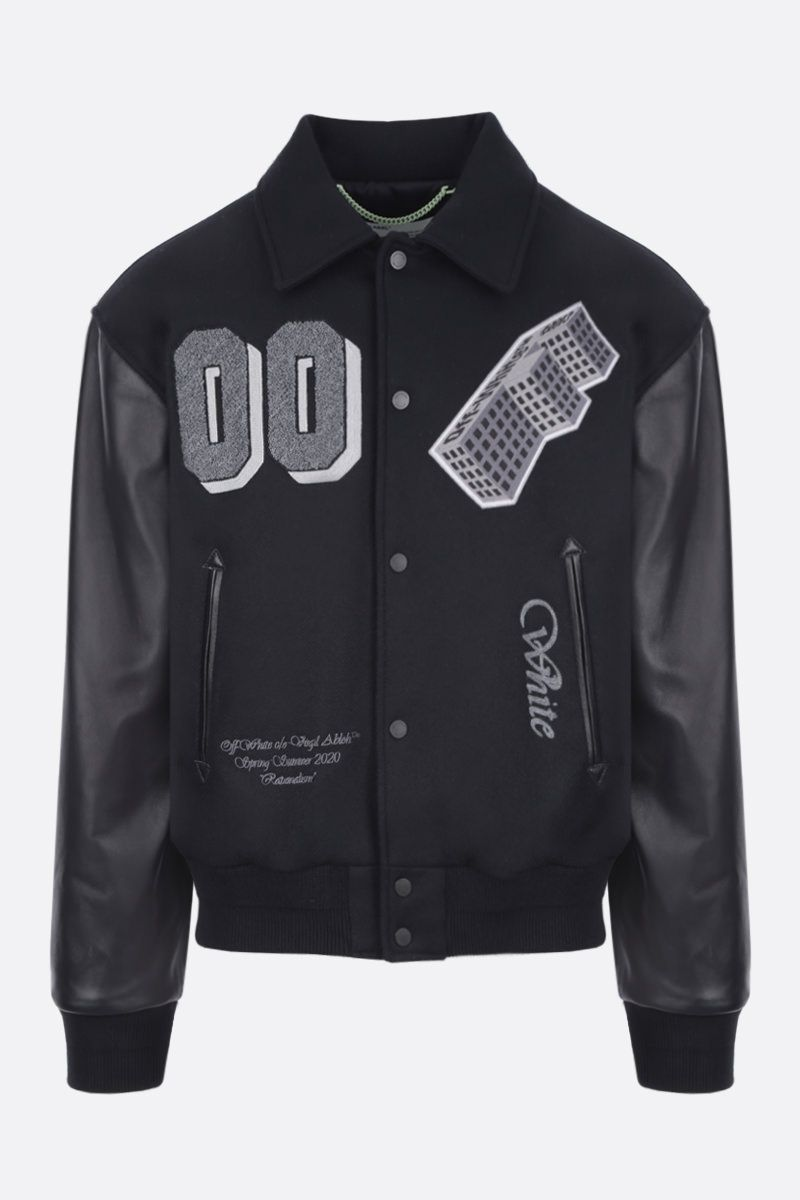 OFF WHITE: wool blend bomber jacket with leather sleeves Color Black_1