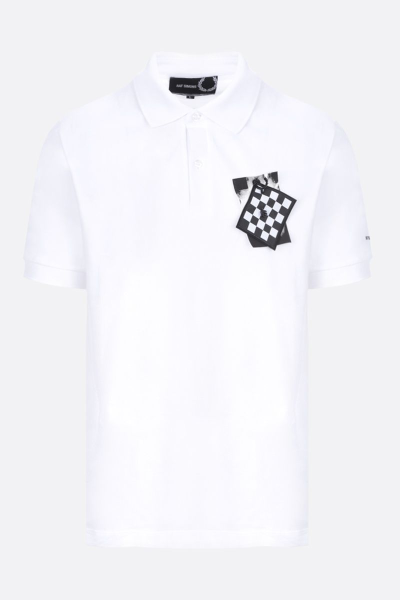 FRED PERRY X RAF SIMONS: patch-detailed piquet polo shirt Color White_1