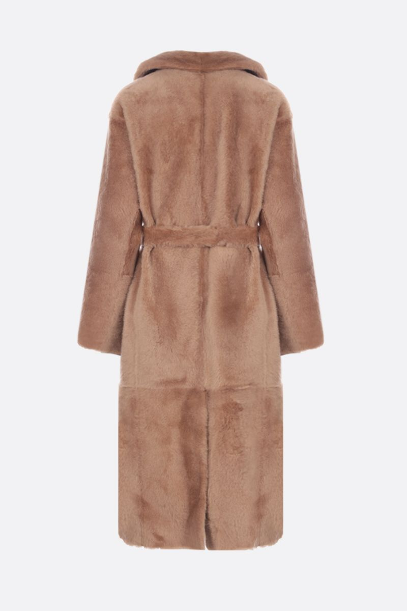 YVES SALOMON: Sarrasin reversible coat in shearlin Color Brown_2