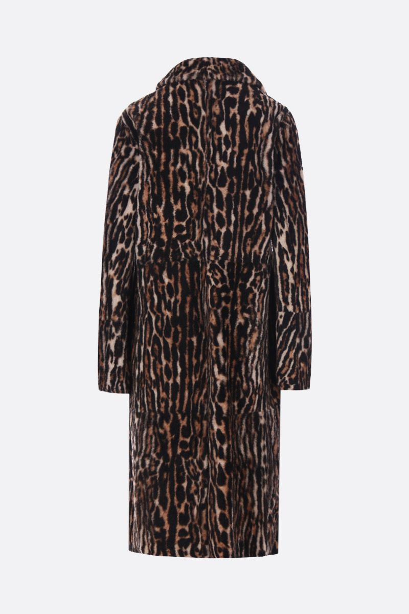 YVES SALOMON: double-breasted coat in leopard printed shearling_2