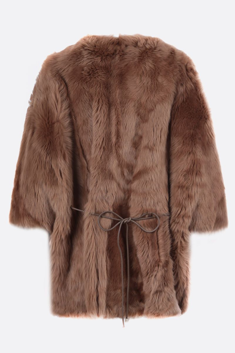 YVES SALOMON: shearling cape Color Brown_2