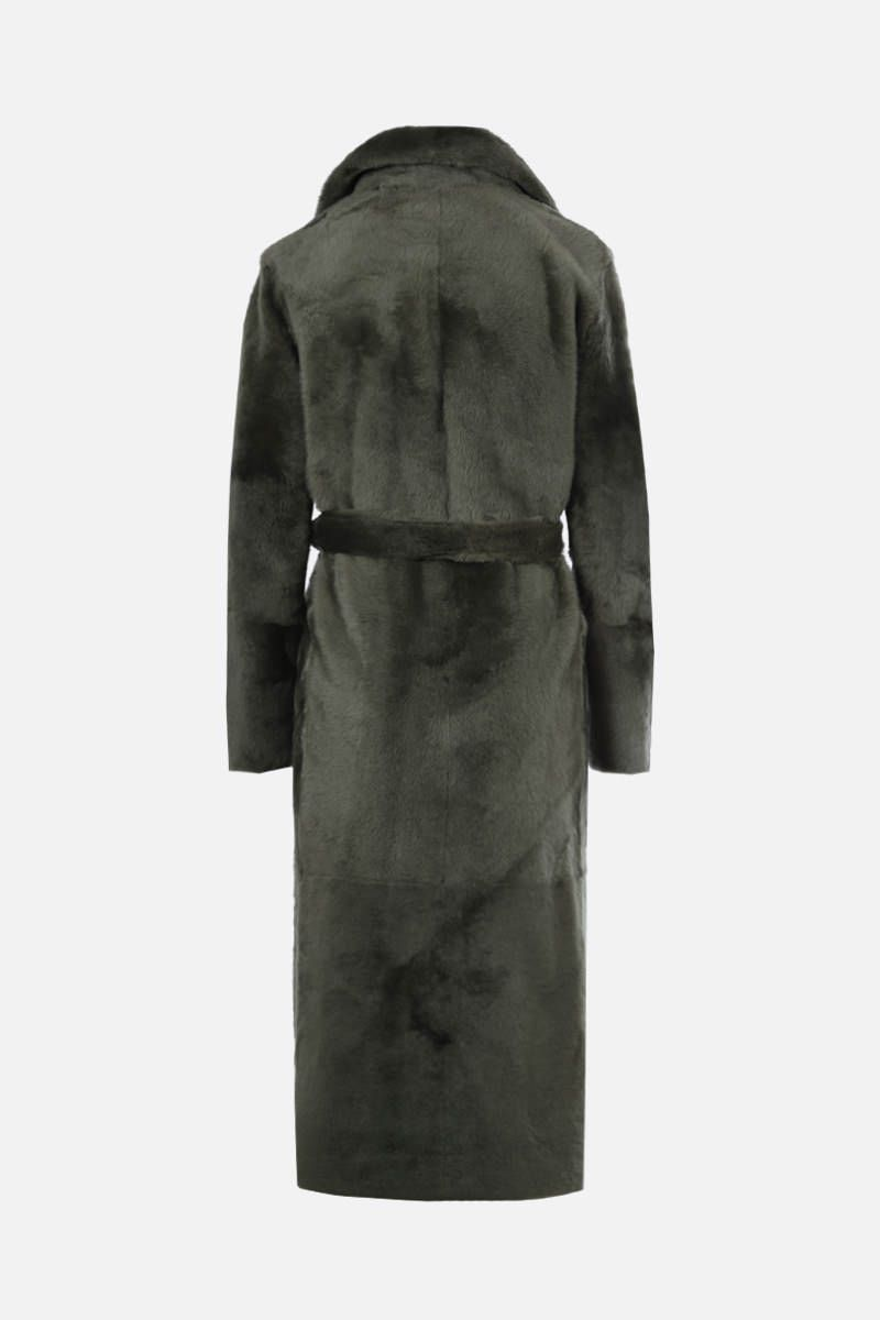 YVES SALOMON: belt-detailed shearling single-breasted coat Color Green_2