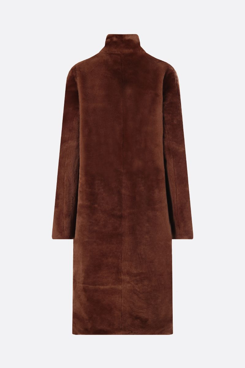 YVES SALOMON: shearling single-breasted coat Color Brown_2