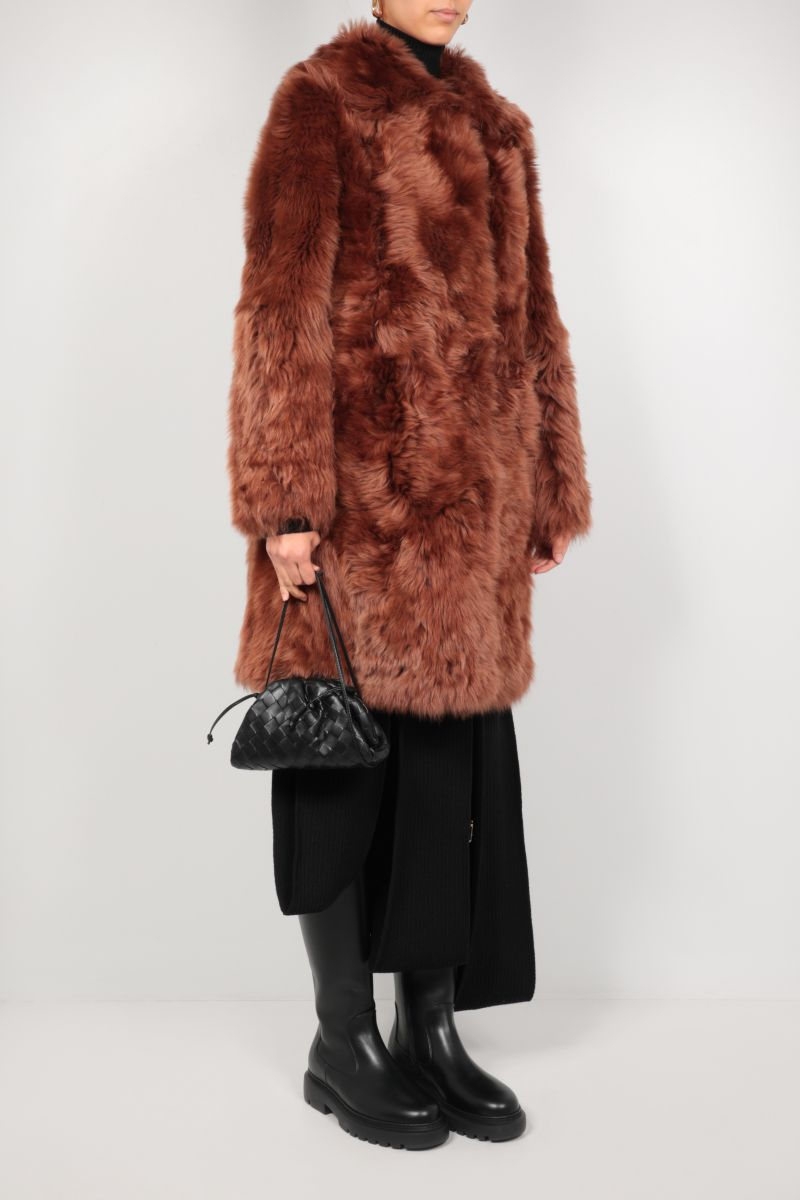 YVES SALOMON: single-breasted shearling coat Color Brown_2