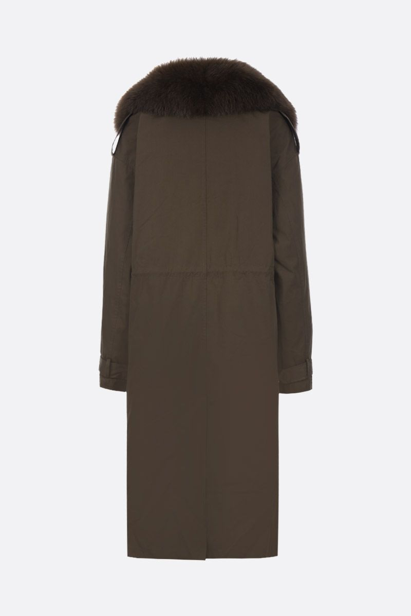 ARMY BY YVES SALOMON: technical cotton overcoat with fur detail Color Green_3