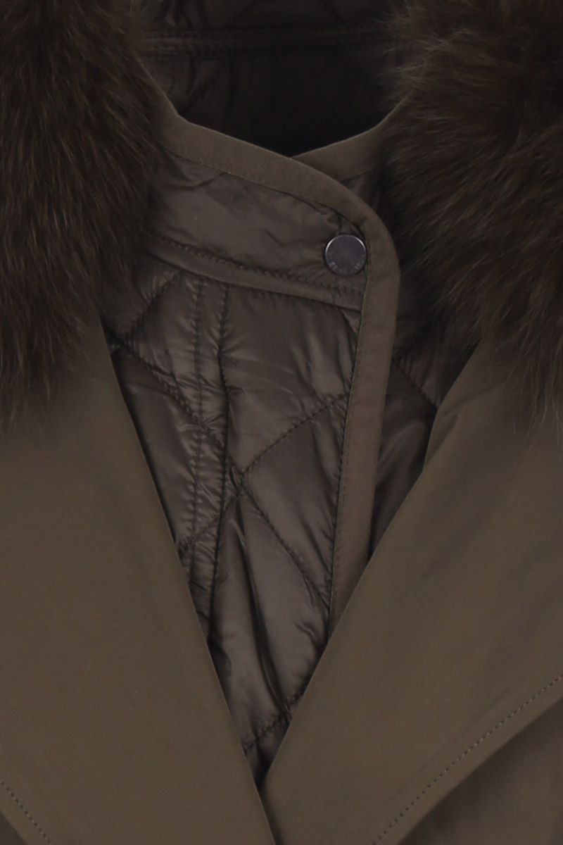 ARMY BY YVES SALOMON: technical cotton overcoat with fur detail Color Green_4