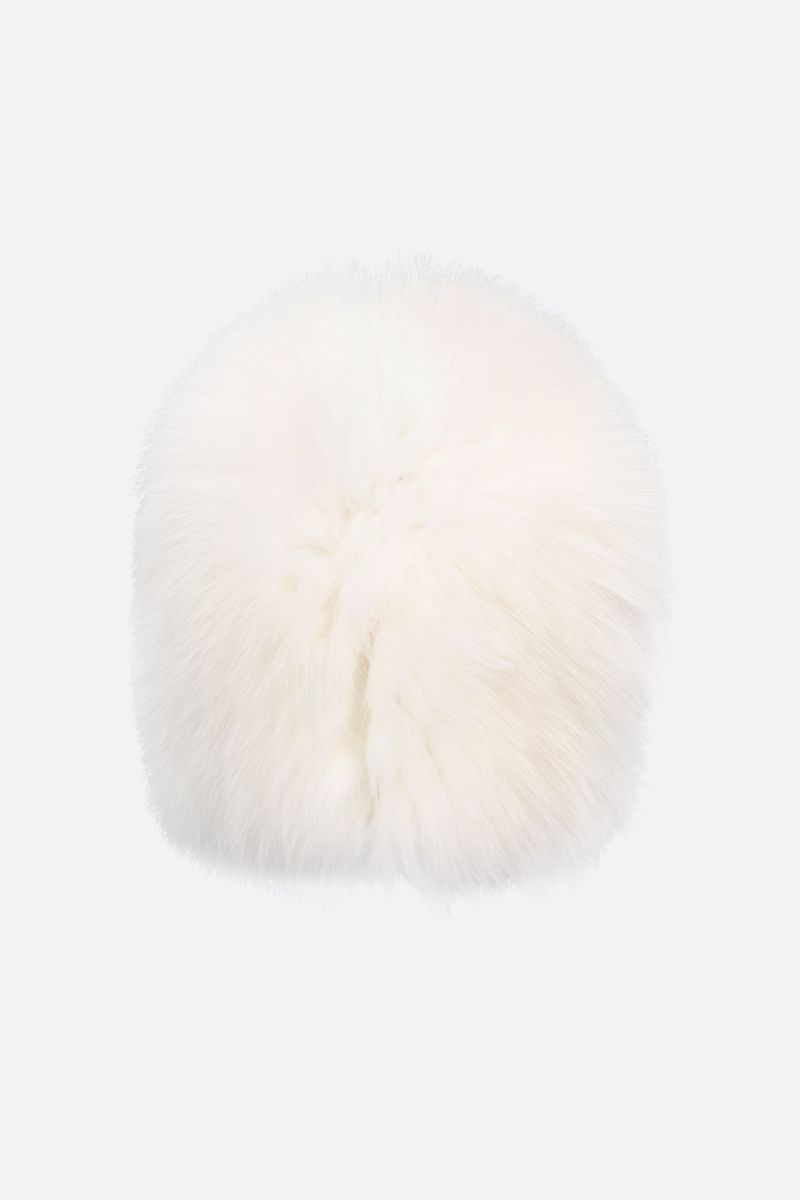 YVES SALOMON: soft fox fur beanie Color White_1