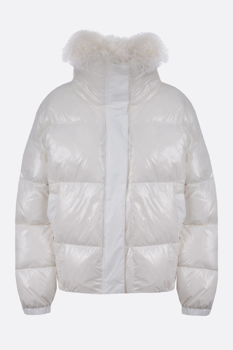 YVES SALOMON: shearling collar-detailed coated nylon down jacket Color White_1