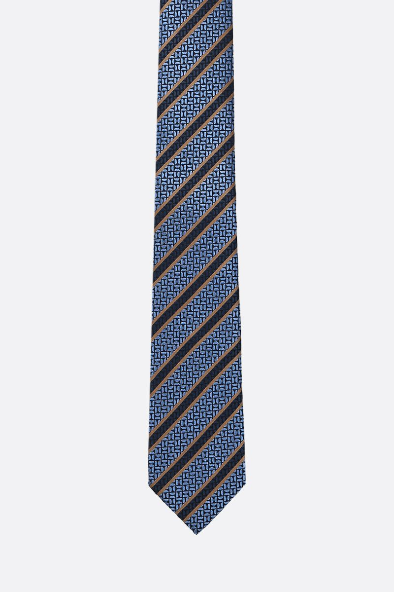 ERMENEGILDO ZEGNA: striped silk tie Color Blue_1