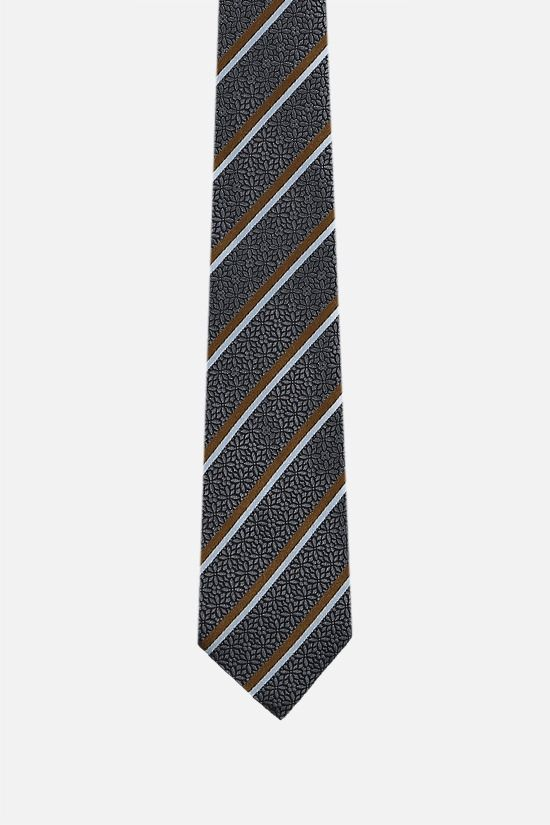 ERMENEGILDO ZEGNA: striped silk jacquard tie Color Grey_1