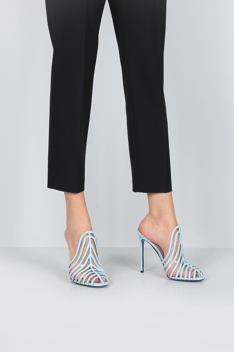 ALEVI' MILANO: Alessandra mules in patent leather and PVC Color Blue_2
